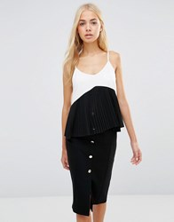 Daisy Street Cami Top With Frill Hem White Black