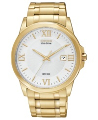 Citizen Men's Eco Drive Gold Tone Stainless Steel Bracelet Watch 40Mm Bm7262 57A