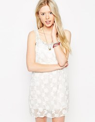 Jasmine Shift Dress With Crochet Detail White