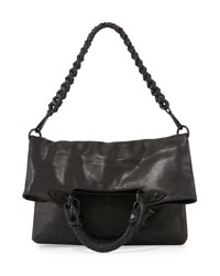 Elliott Lucca Iara Leather Fold Over Crossbody Tote Bag Blk
