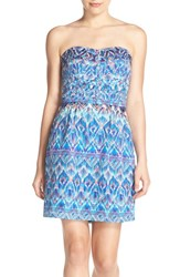 Women's Charlie Jade Print Strapless Silk Minidress