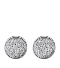 Carat Fancy Border Stud Earrings Female Silver