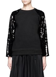 Giamba Sequin Embellished Cotton Fleece Sweatshirt Black