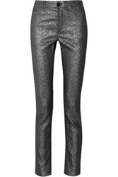 Isabel Marant Leta Glittered Mid Rise Skinny Jeans Silver