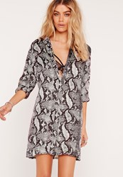 Missguided Snake Print Shirt Dress Multi Multi