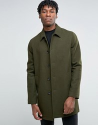 Asos Wool Mix Trench Coat In Khaki Khaki Green