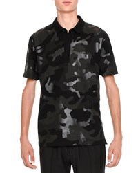 Valentino Tonal Camo Print Polo Shirt Black Size Medium