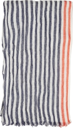 Closed White And Navy Striped Scarf