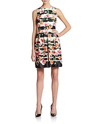 Saks Fifth Avenue Red Floral Print Striped Dress Multi