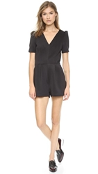 Line And Dot Drew Tuxedo Romper Black