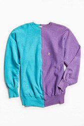 Urban Outfitters Vintage Champion Turquoise Purple Split Seam Crew Neck Sweatshirt