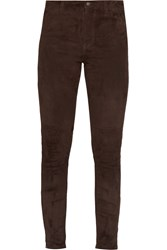 Rebecca Minkoff Philly Suede Skinny Pants Brown