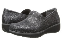 Softwalk Meredith Black Pewter Metallic Rose Embossed Leather Women's Slip On Shoes