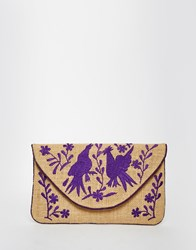 Moyna Jute Clutch With Purple Embroidery Multi