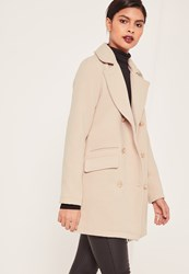 Missguided Nude Short Faux Wool Military Coat Stone