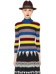 Antonio Marras Ribbed Striped Wool High Collar Sweater