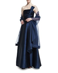 Theia Strapless Bow Detail Satin Gown Navy