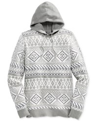 American Rag Men's Fair Isle Hooded Sweater Only At Macy's Ar Pewter Hthr