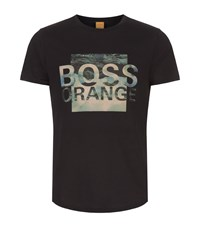 Boss Orange Abstract Logo Printed T Shirt Male Black