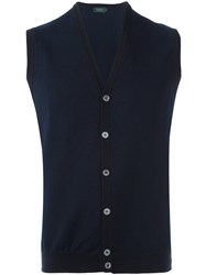 Zanone V Neck Knit Vest Blue