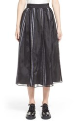 Jupe By Jackie 'Nakura' Embroidered Silk Organza Midi Skirt Black