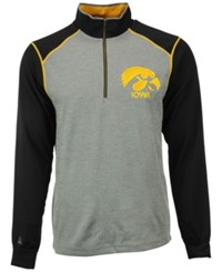 Antigua Men's Iowa Hawkeyes Breakdown Quarter Zip Pullover Heather Gray Black