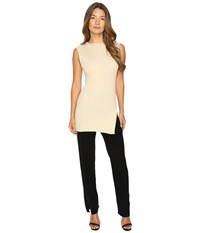 Cashmere In Love Tori Ribbed Tunic Beige Women's Clothing