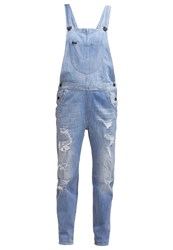 Lee Oversized Bib Dungarees Vintage Blue Destroyed Denim