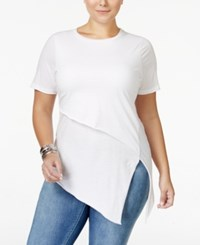Whitespace Trendy Plus Size Asymmetrical T Shirt White
