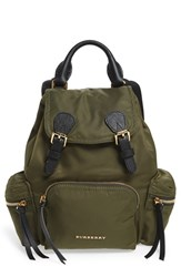 Burberry 'Small Runway Rucksack' Nylon Backpack Green Canvas Green