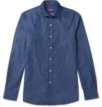 Ralph Lauren Purple Label Aston Slim Fit Cutaway Collar Cotton Chambray Shirt Blue
