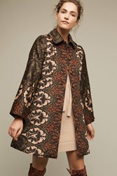 Anthropologie Janice Printed Coat Green Motif