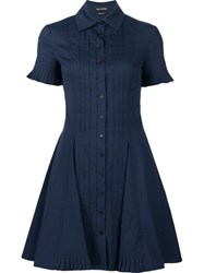 Yigal Azrouel Pleat Front Shirt Dress Blue