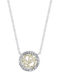 Unwritten Initial 'D' Pendant Necklace With Crystal Pave Circle In Sterling Silver And Gold Flash Two Tone