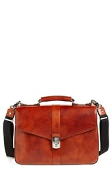 Men's Bosca 'Flapover' Leather Briefcase Brown Amber