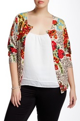 Charlotte Tarantola Floral And Animal Print Cardigan Plus Size Brown