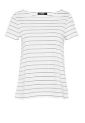 Hallhuber Striped Top With Back Pleat Grey