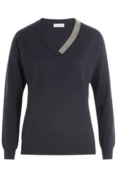 Brunello Cucinelli Cashmere Pullover With Embellished Trim Blue