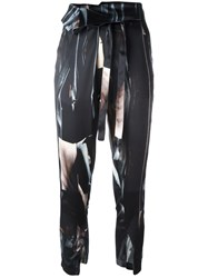 Ann Demeulemeester 'Raso' Printed Cropped Trousers Black