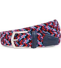 Andersons Woven Stretch Belt Blue Pink Red