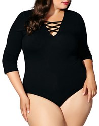 Mblm By Tess Holiday Plus Three Quarter Sleeve Criss Cross Strap Bodysuit Black