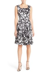Women's Ellen Tracy Print Stretch Cotton Fit And Flare Dress