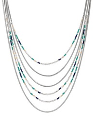 Lucky Brand Bead And Snake Chain Necklace Silver