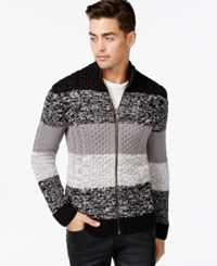 Inc International Concepts Mock Neck Colorblock Stripe Cardigan Sweater Only At Macy's Deep Black