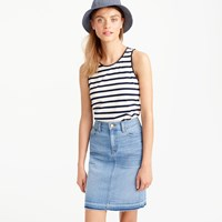 J.Crew Faux Leather Scalloped Trim Tank In Stripe