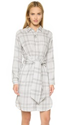 J.O.A. Plaid Tie Front Dress Grey