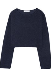 Elizabeth And James Vann Cropped Knitted Sweater Navy
