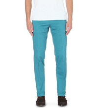 Brioni Slim Fit Cotton Twill Trousers Teal