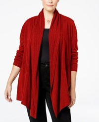Karen Scott Cable Knit Pocket Cardigan Only At Macy's Red Cherry