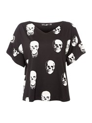 Replay Skull Print T Shirt Black